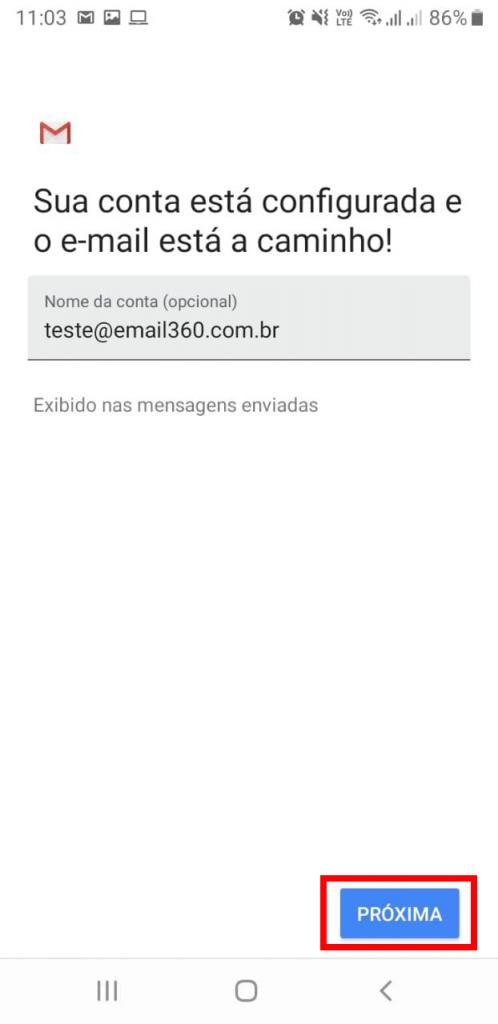 Como configurar o E-mail 360 no Android